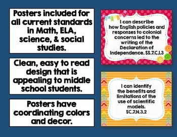 I Can Posters & Student Checklists Bundle 7th Grade Florida Standards