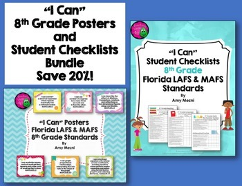 I Can Posters & Student Checklists Bundle 8th Grade Florida LAFS MAFS Standards