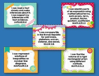 I Can Posters & Student Checklists Bundle 6th Grade Florida Standards