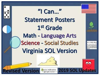 I Can...Posters for VA SOL's 1st Grade Revised and Updated 2017