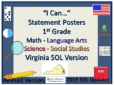 I Can...Posters for VA SOL's 1st Grade Revised and Updated 2019