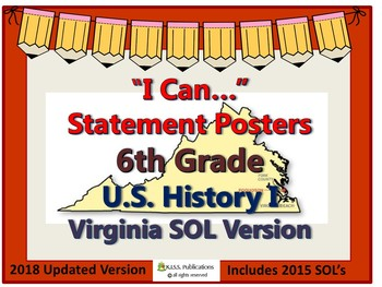I Can...Posters for Virginia 6th Grade History (US1)