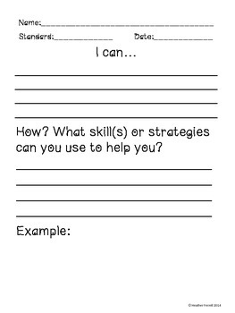 I Can... Proof of Student Learning Sheet