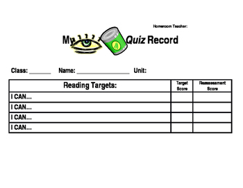 I Can Quiz Record Sheet