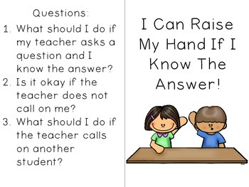 I Can Raise My Hand -- Social Story (with comprehension questions)