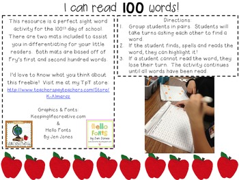 I Can Read 100 Words! (A 100th Day of School Sight Word Activity).