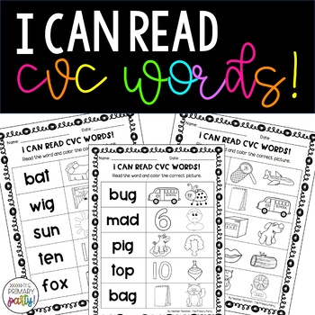 I Can Read CVC Words Practice Pages