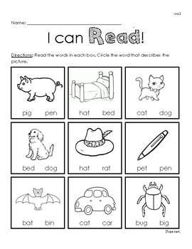 I Can Read! CVC reading worksheet 1