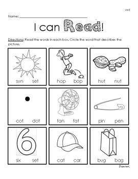 I Can Read! CVC worksheet 3