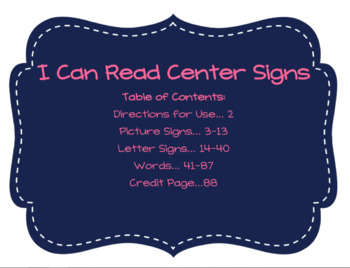 I Can Read Center Signs Bundle