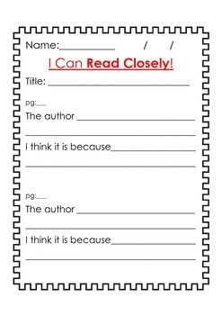 I Can Read Closely  - 3 Worksheets