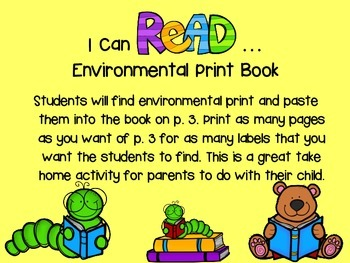 I Can Read Environmental Print Book Freebie
