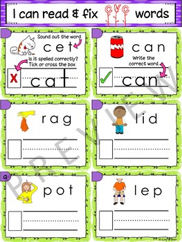 I Can Read & Fix CVC Words - 120 Phonics Sounding / Spelling Cards