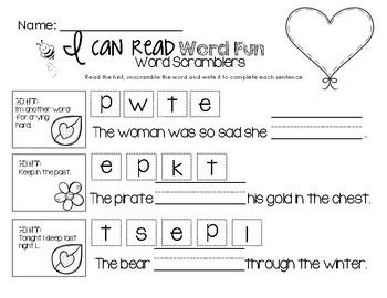 I Can Read  Grammar Fun - Word Scramblers