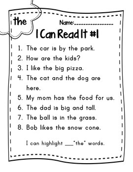 I Can Read It (Sight Words) Set #1
