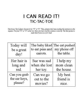 I Can Read It Tic-Tac-Toe #2