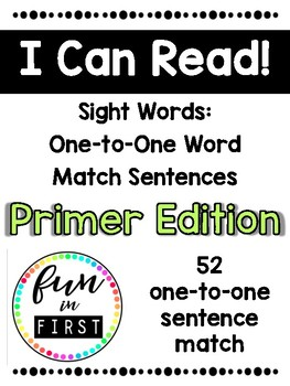 One-to-One Fluency Sentences: Primer Edition