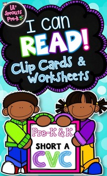 Learn to Read Activity -I Can Read (Short A) Clip Cards & Interactive Worksheets