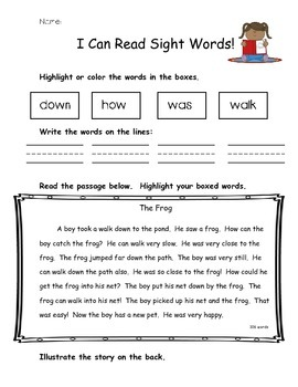 I Can Read Sight Words Color and Read NO PREP