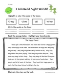 I Can Read Sight Words /High Frequency Words - Color and Read Packet 2 NO PREP