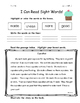 I Can Read Sight Words Read and Color Fluency Practice packet 3 NO PREP
