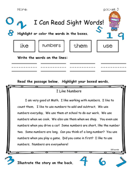 I Can Read Sight Words Read and Color Fluency Practice pac