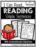 I Can Read... Simple Sentence, Comprehension, Sight Words Kindergarten, Blending