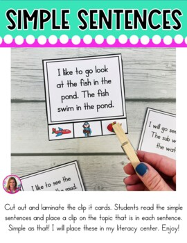 I Can Read Simple Sentences Literacy Center (Clip It Cards Literacy Center)