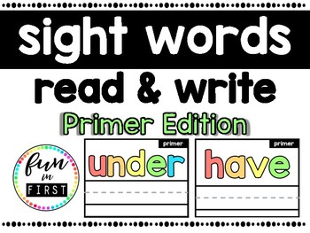 Write & Wipe Literacy Center: Read & Spell Primer Sight Words