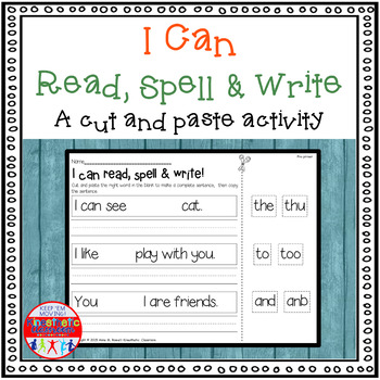 Sight Word Activity Cut and Paste Worksheets for Sight Words