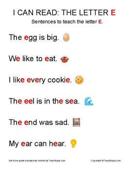 I Can Read: The Letter E.  Sentences to teach reading using the Letter E.