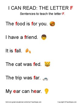I Can Read: The Letter F.  Sentences to teach reading using the Letter F.