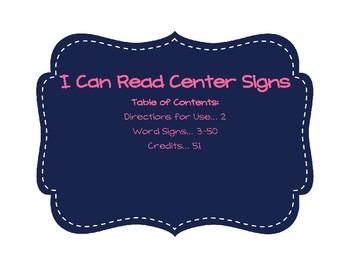 I Can Read Words Center Signs