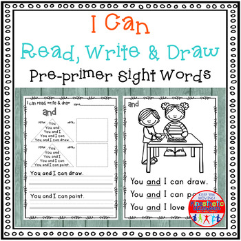 Sight Word Activity - I Can Read, Write & Draw Sight Words: PP Edition {RTI}