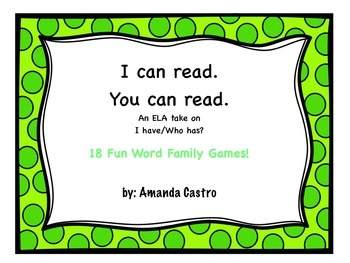 I Can Read, You Can Read - Working with Word Families