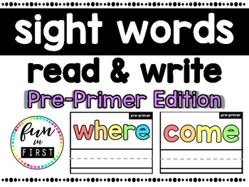 Write & Wipe Literacy Center: Read & Spell Pre-Primer Sight Words