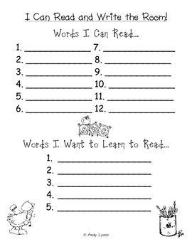 I Can Read and Write the Room Form
