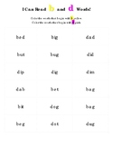 I Can Read b and d Words