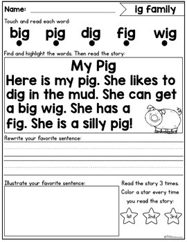 Short Vowel Fluency Passages