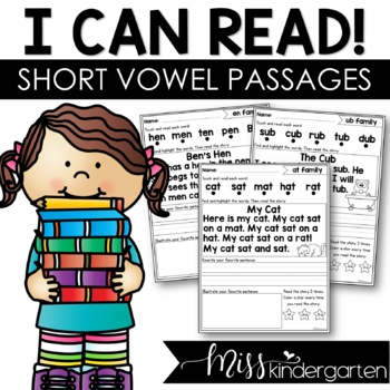 Reading Fluency Passages Short Vowel Words