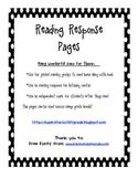 I Can Reading Response Sheets