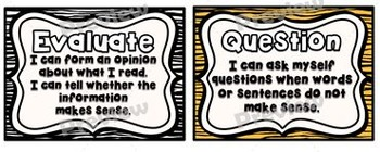 "'I Can"" Reading Strategies Posters Pack ~ Animal Theme"