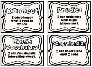 "'I Can"" Reading Strategies Posters Pack ~ Black/White"