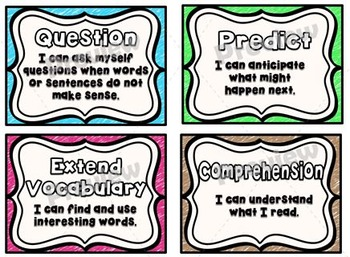 """'I Can"""" Reading Strategies Posters Pack ~ Crayon Theme"""