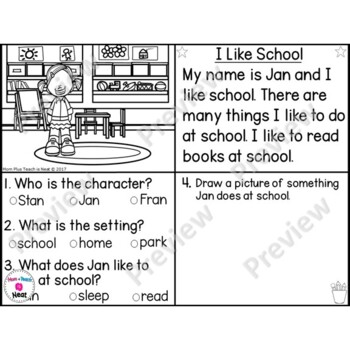Kindergarten Story Element Worksheets-Set 1