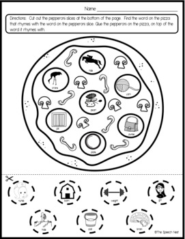 I Can Rhyme: Pizza Time - A Phonological Awareness Activity,  No Prep Worksheets