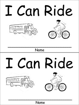 I Can Ride Emergent Reader Preschool or Kindergarten Transportation