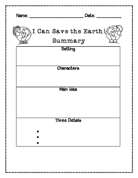 I Can Save the Earth Summary Graphic Organizer