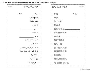 """""""I Can Say It!"""" Basic Survival Sentences for Newcomers"""