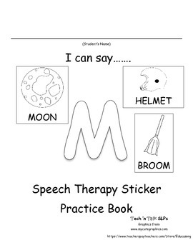 I Can Say.....   Speech Therapy Sticker Practice Book for M